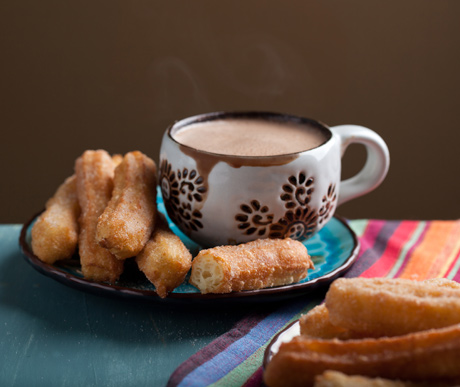 xoco churros with mexican hot chocolate widely eaten on mexican ...