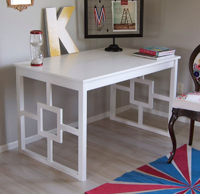 ... on how to transform this $69 Ingo Table into this chic lacquered desk