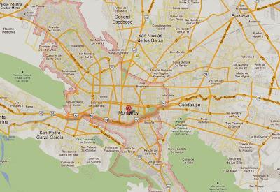 Mapa da cidade de Monterrey – México