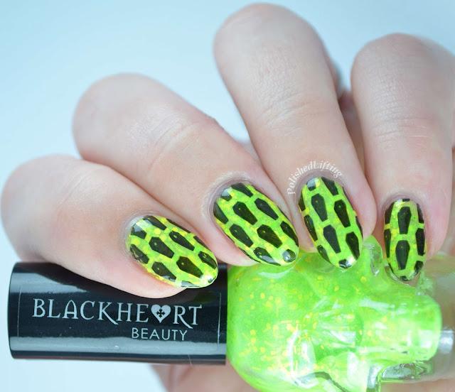 Blackheart Beauty Lime Splatter Glow in the Dark Coffin mani