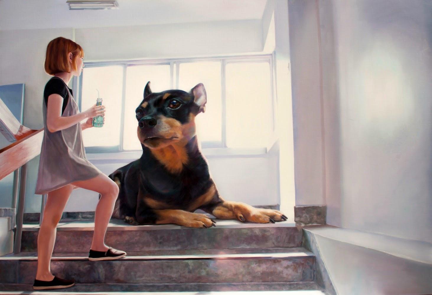 The Girl and Her Dog   © Jeong Woo Jae