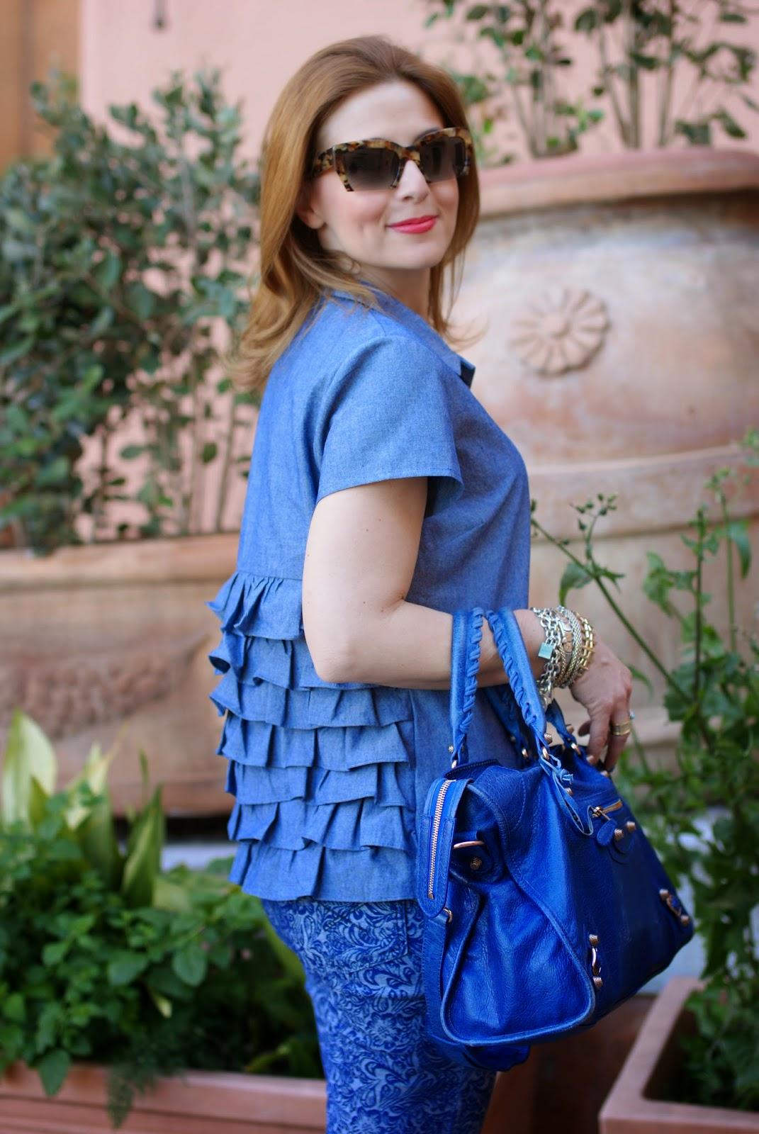 ruffled shirt, balenciaga city, miu miu rasoir sunglasses, Fashion and Cookies, fashion blogger