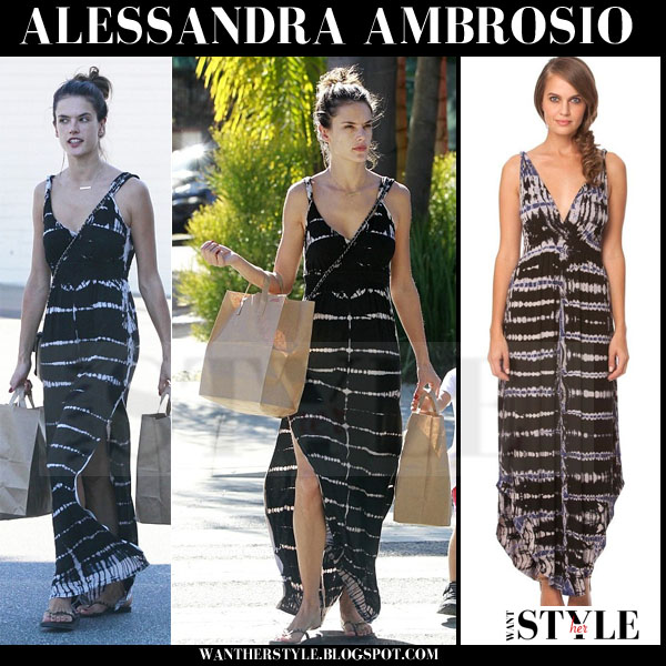 Alessandra Ambrosio in black striped maxi dress what she wore models off duty