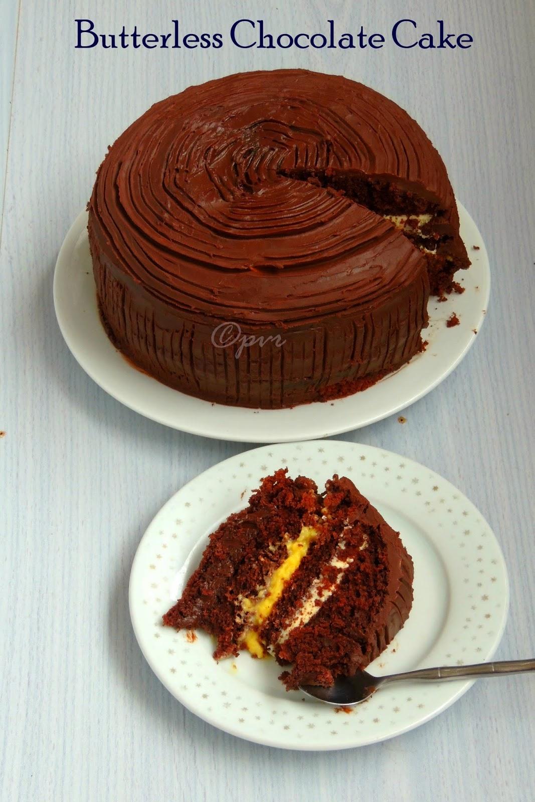 Chocolate Cake with Eggless Orange Custard Cream, Eggless White Chocolate Mousse and Chocolate Ganache, Butterless chocolate cake