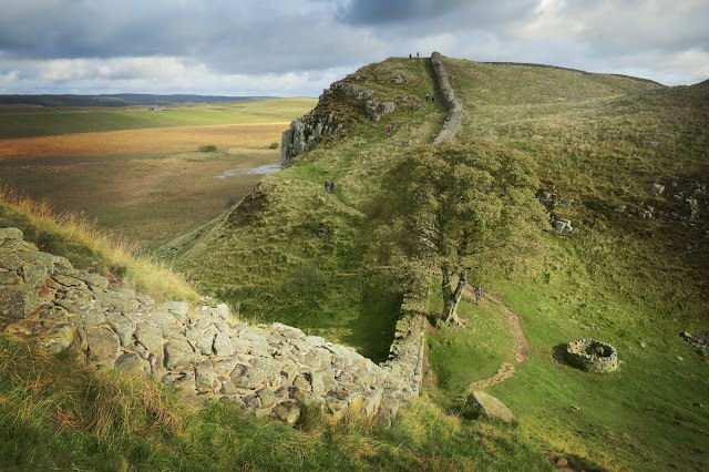 First glimpse of Sycamore Gap, one of the best views on Hadrian's Wall.