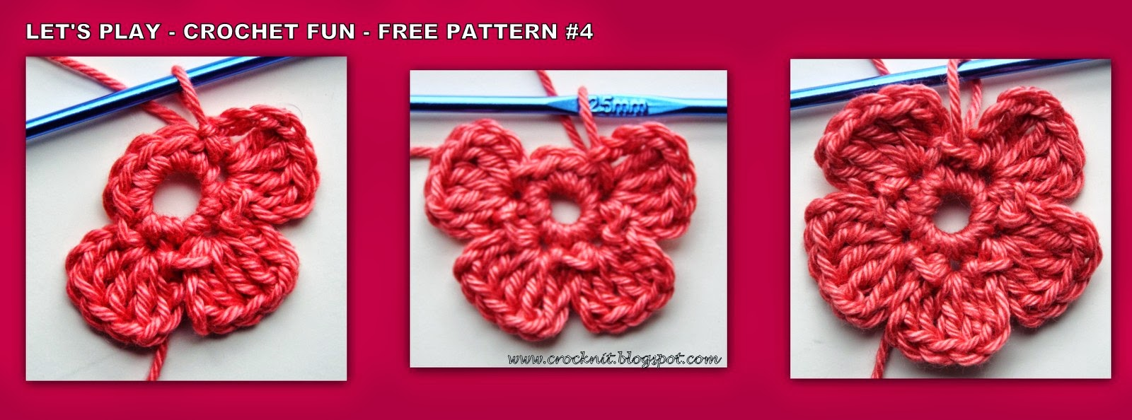 free crochet patterns five petal flower