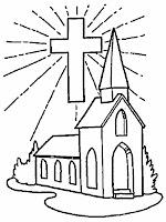 mewarnai gambar gereja tempat sekolah minggu