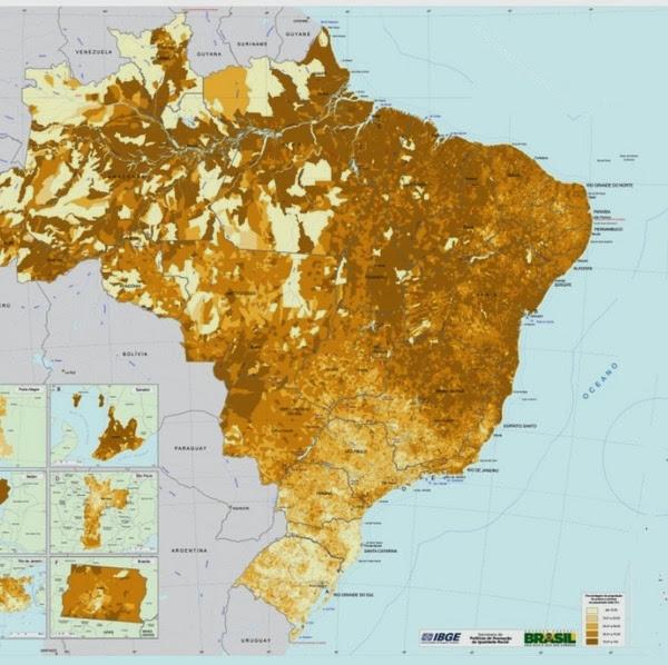 BRASIL - Análise dos grupos étnicos do Brasil / Etnografía, cultura y mestizaje de Brasil Mapa+da+Distribui%C3%A7%C3%A3o+Espacial+da+Popula%C3%A7%C3%A3o,+segundo+a+cor+ou+ra%C3%A7a+%E2%80%93+Pretos+e+Pardos
