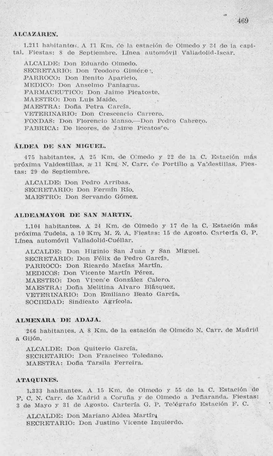 Guía-anuario de Valladolid y su provincia 1927 de la Casa Santarén, página 469