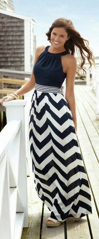 Chevron Long Maxi Dress