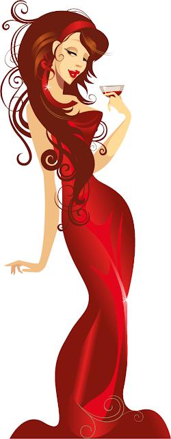 mujer con traje de fiesta vectorial