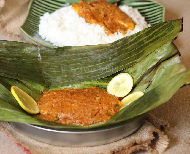 Meen Pollichathu / Baked Fish in banana wraps