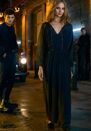 Massimo Dutti vestido largo negro invierno
