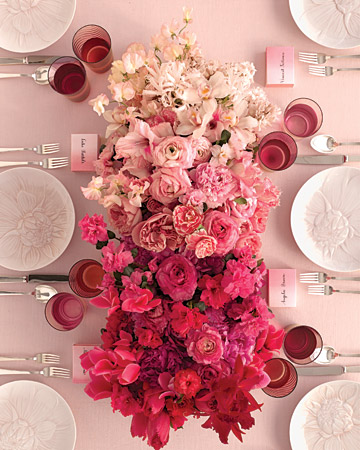 Entertaining - Pink Centerpiece for a brunch or lunch