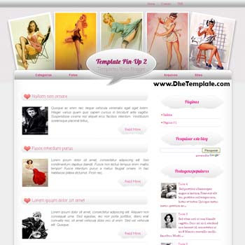 Pin-Up 2 blogger template. blogger template for girly blog