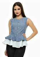 Bluza cu peplum dublu din bumbac SR031SD (Ama Fashion)