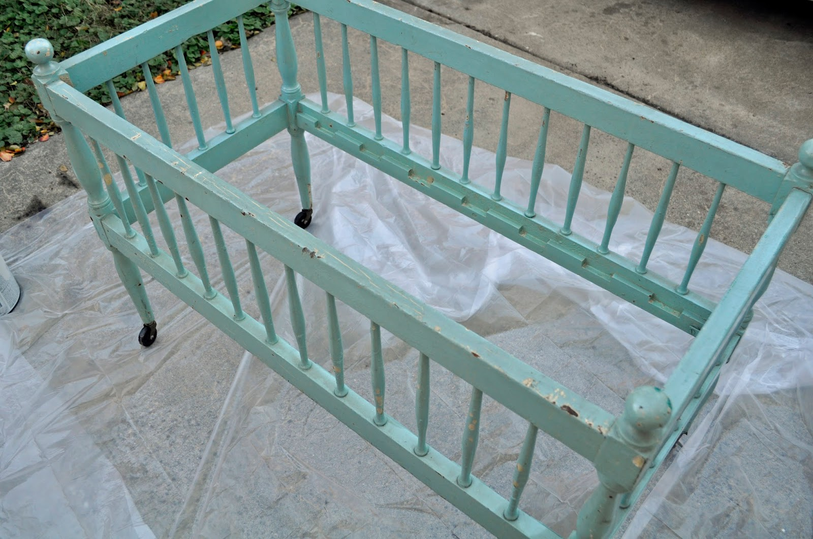 vintage teal blue wooden crib