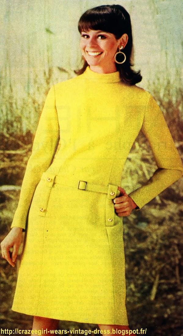 1960 1967 60s 1960's 60's années 60 sixties mode fashion vintage retro sixties mod mods sew yeye twiggy Les lainages de cet hiver présentent la plus charmante diversité de coloris, en rayures d'une spirituelle gaieté ou en teintes unies, tendres et fraîches. A vous de choisir suivant votre type.Jonquille en fin shetland uni ; robe près du corps affinée par de longues pinces dans le corsage ; col roulé,  pattes de poches en garniture formant coulants pour la ceinture posée aux hanches ; boutons en métal doré. Rayures collégienne en teintes vives, jaune, orange, vert et noir ; robe-tube en jersey, très pratique ; emmanchures obliques ; manches longues ; encolure en carré.Bleu-pervenche en ratine ; robe de ligne évasée, soulignée de piqûres à la couture centrale, poches fendues sur les côtés, manches longues et col montant.Rayures tendres et cravate géante ; robe en lainage rayé ; col pointu ; ceinture à boucle et incrustations au milieu de la manche longue en lainage uni ; cravate en biais ; jupe évasée.