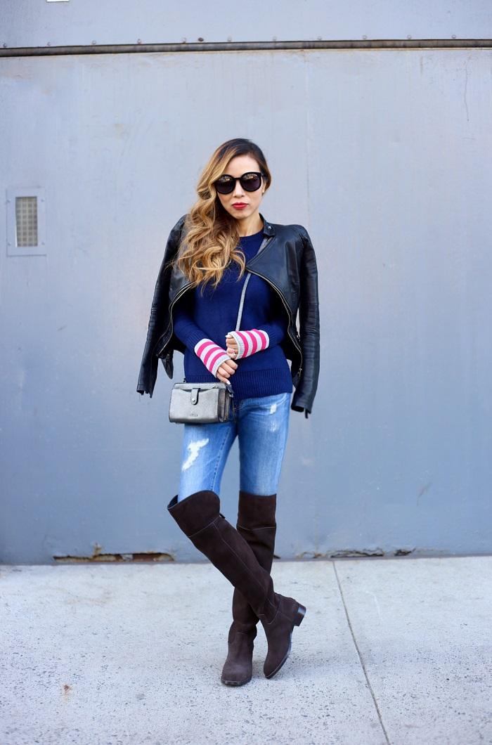 caslon Contrast Cuff Crewneck Sweater, tory burch Simone Over the Knee Boots, karen walker super duper sunglasses, coach weekender crossbody, AG jeans, blank denim veggan leather jacket, street style, fashion blog