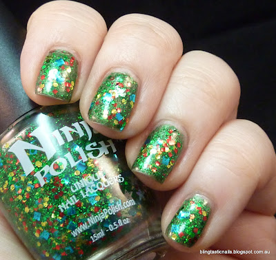 Pretty & Polished Xmas Wreath and Ninja Polish No Peeking!