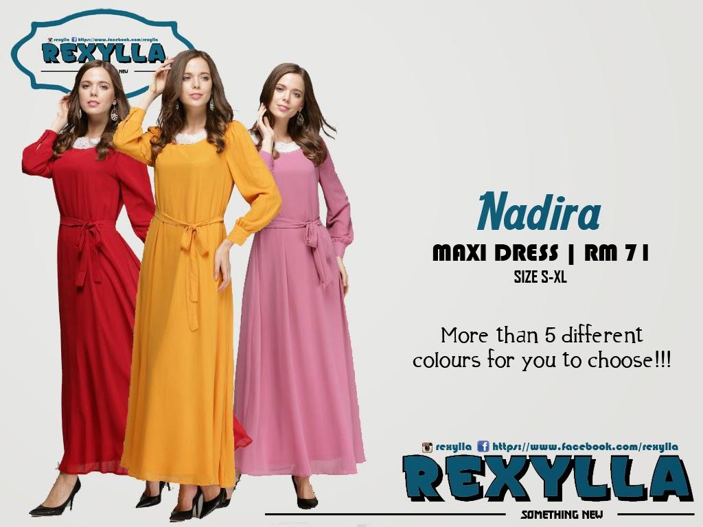 rexylla, maxi dress, pearl neck, nadira collection