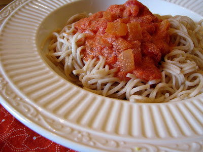 healthy spaghetti and vodka sauce