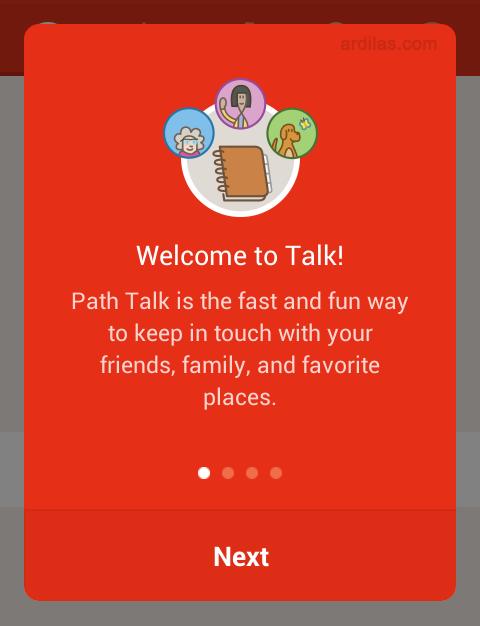 Cara Mendaftar / Membuat Akun di Aplikasi Path Talk - Android - welcome. next