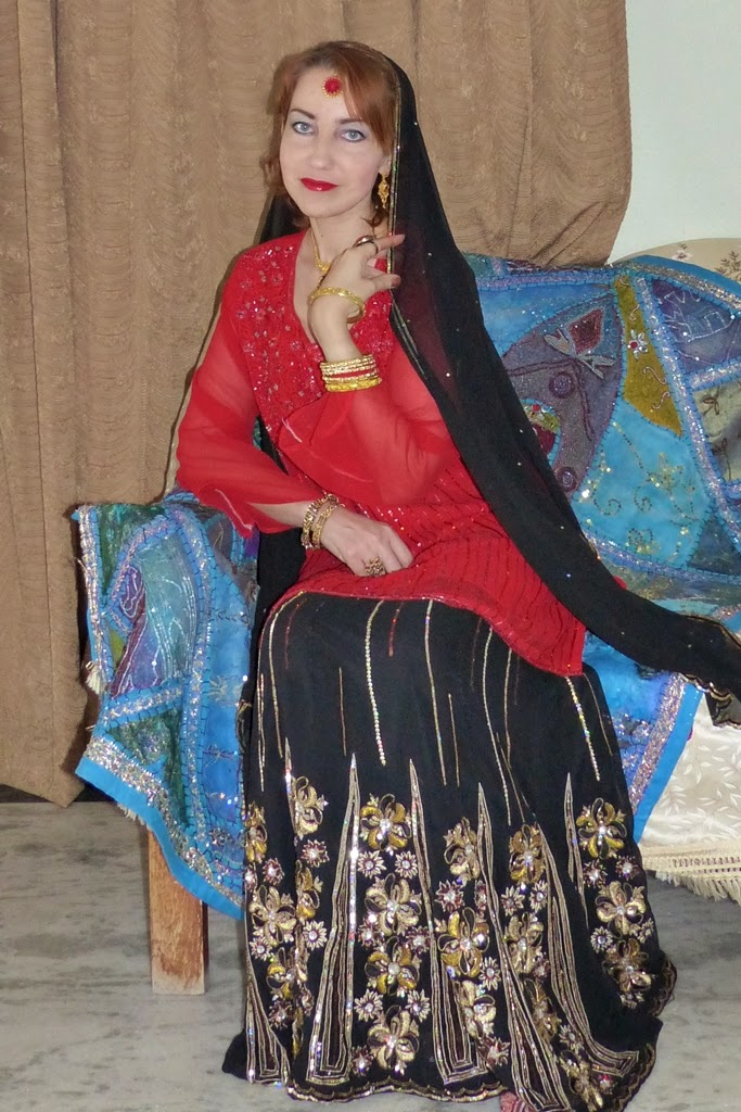 Indian party lehenga and red embroidered kurta