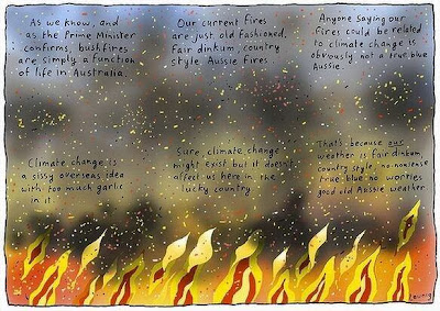 cartoonist Leunig on the bushfires and the Prime Minister's attitude