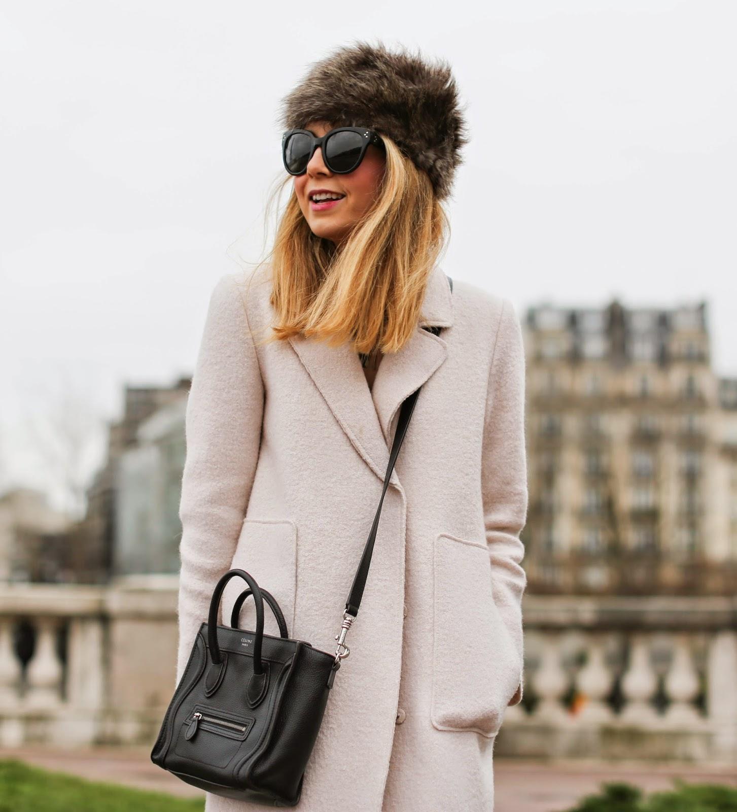 zara, pale pink, python slipons, blk dnm, fur hat, eiffel tower, streetstyle paris, fashion blogger