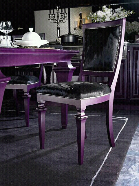 Dining table chairs designs ideas an interior design for Purple dining room table