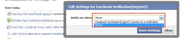 Stop Facebook Verification Spam Notifications
