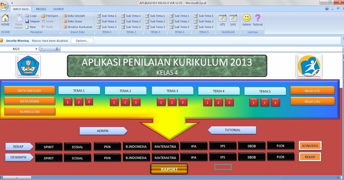 Download Aplikasi Raport Kurikulum 2013 Kelas 4 Sdguru Berbagi