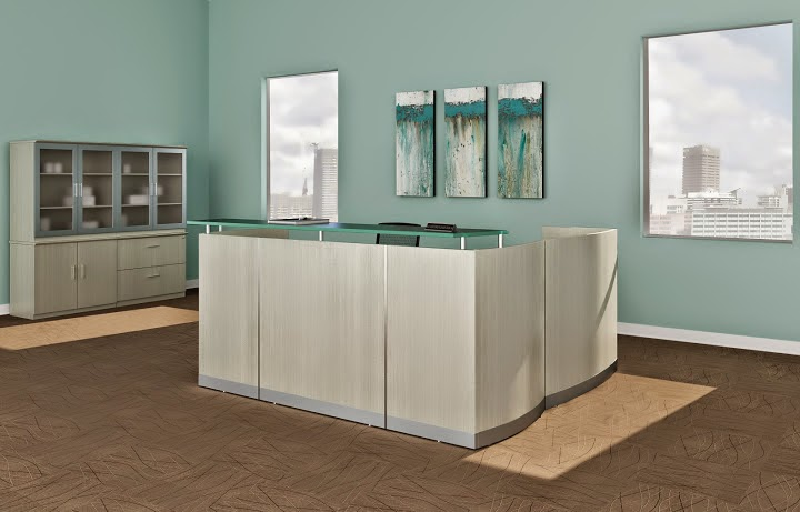 Medina Reception Desk with Sea Salt Finish