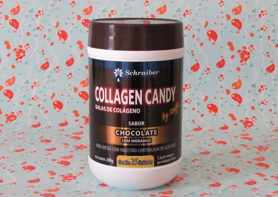 bala, colágeno, collagen candy, chocolate, morango, schraiber