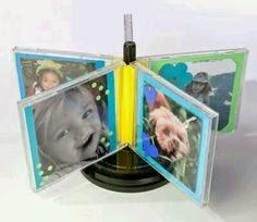 Portaretratos reciclados con cajas de cds