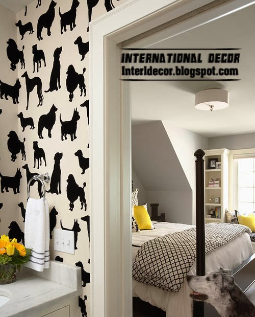 Black and white wallpaper animal patterned in the interior