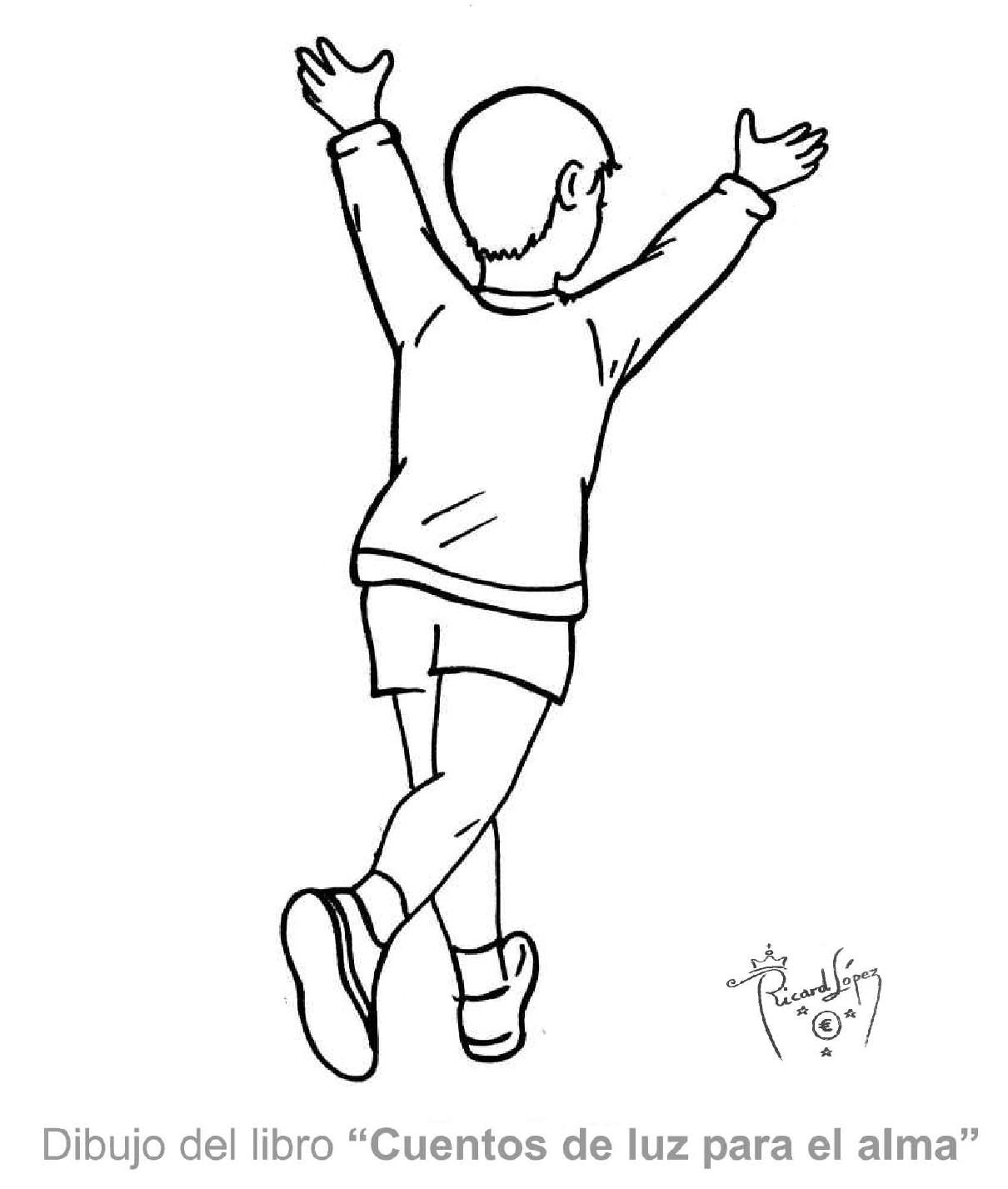 Dibujos muy originales para colorear: Dibujo de un niño corriendo