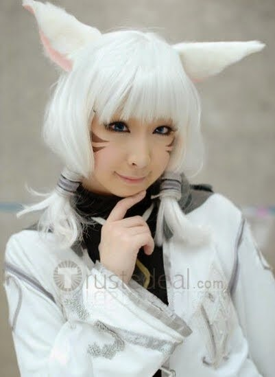 Final Fantasy XIV 14 Miqote Cosplay Wig