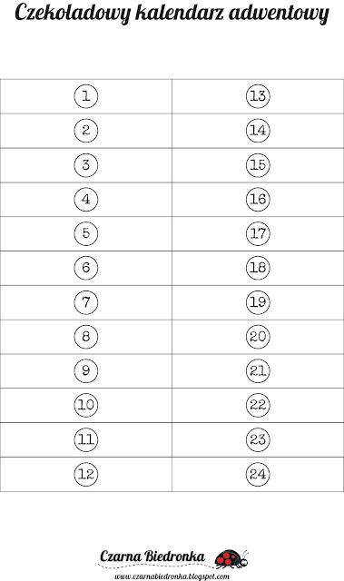 kalendarz adwentowy cyfry do wydruku