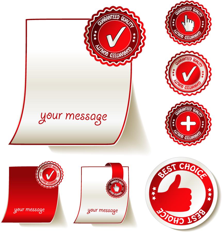 赤と白のお洒落なステッカー roll angle stickers イラスト素材
