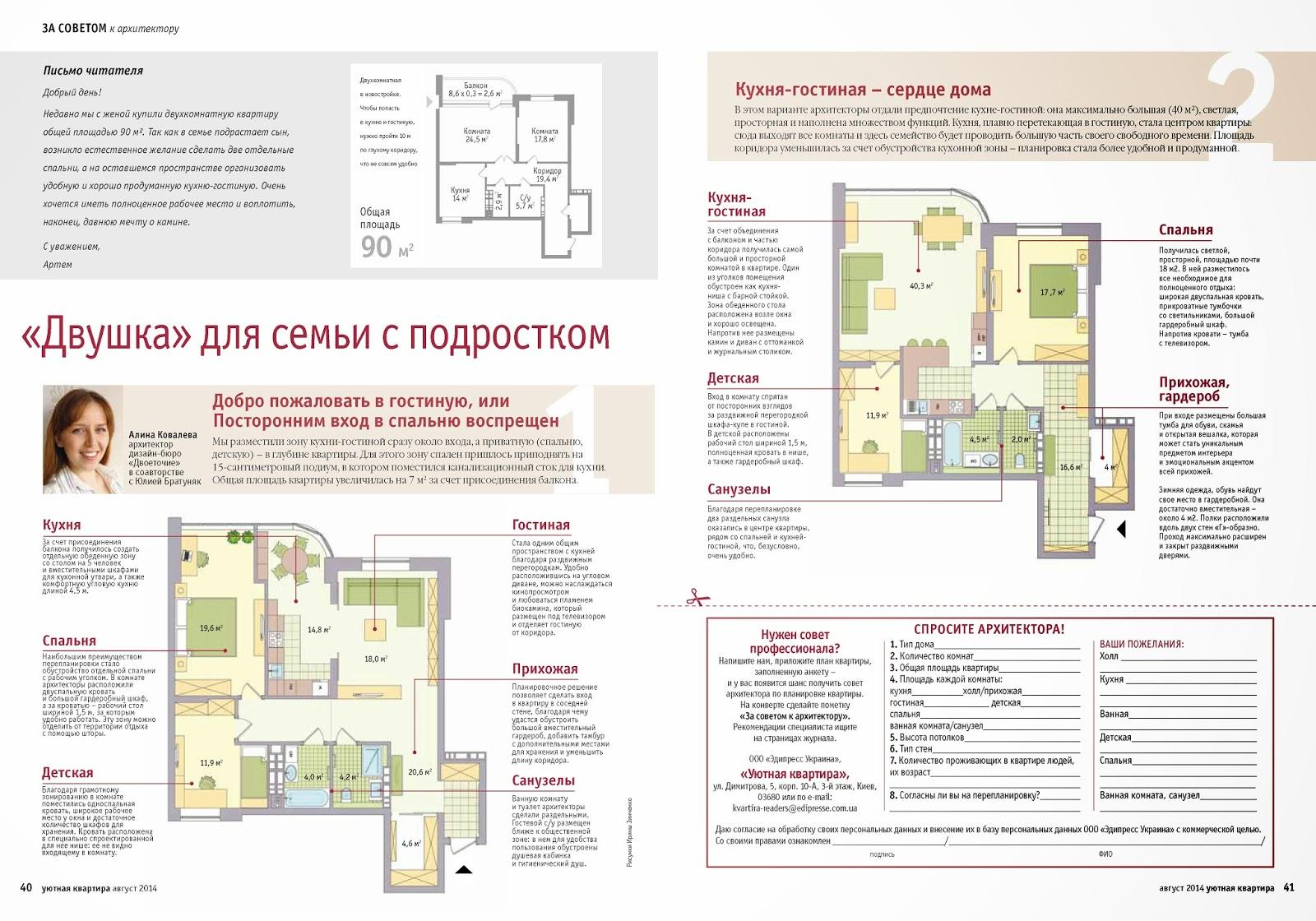 консультация в журнале Уютная Квартира