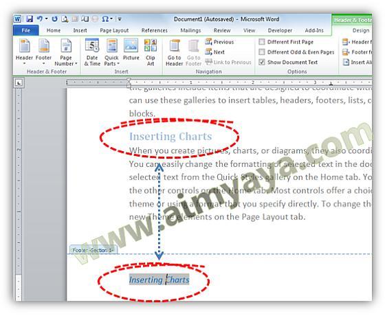 Gambar: Tulisan topik pada footer sesuai dengan style/heading yang aktif