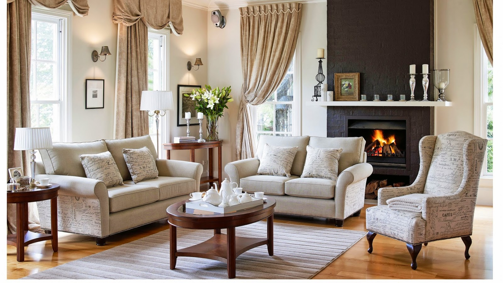 Casper 3 Piece Fabric Lounge Lounges Living Room Furniture