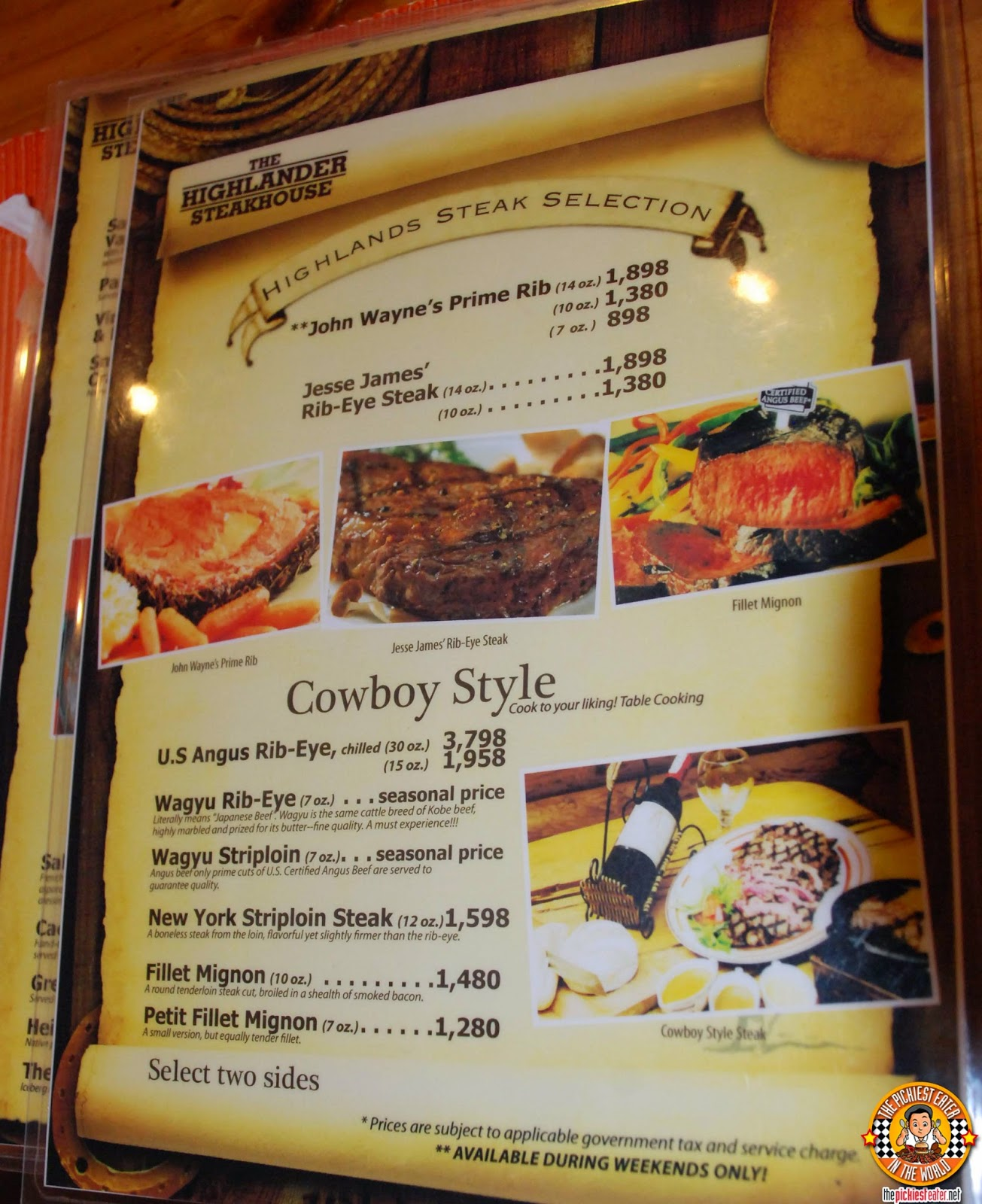 THE HIGHLANDER STEAKHOUSE MENU TAGAYTAY HIGHLANDS