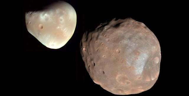 Mars' moons Deimos (left) and Phobos (right). Credit: NASA