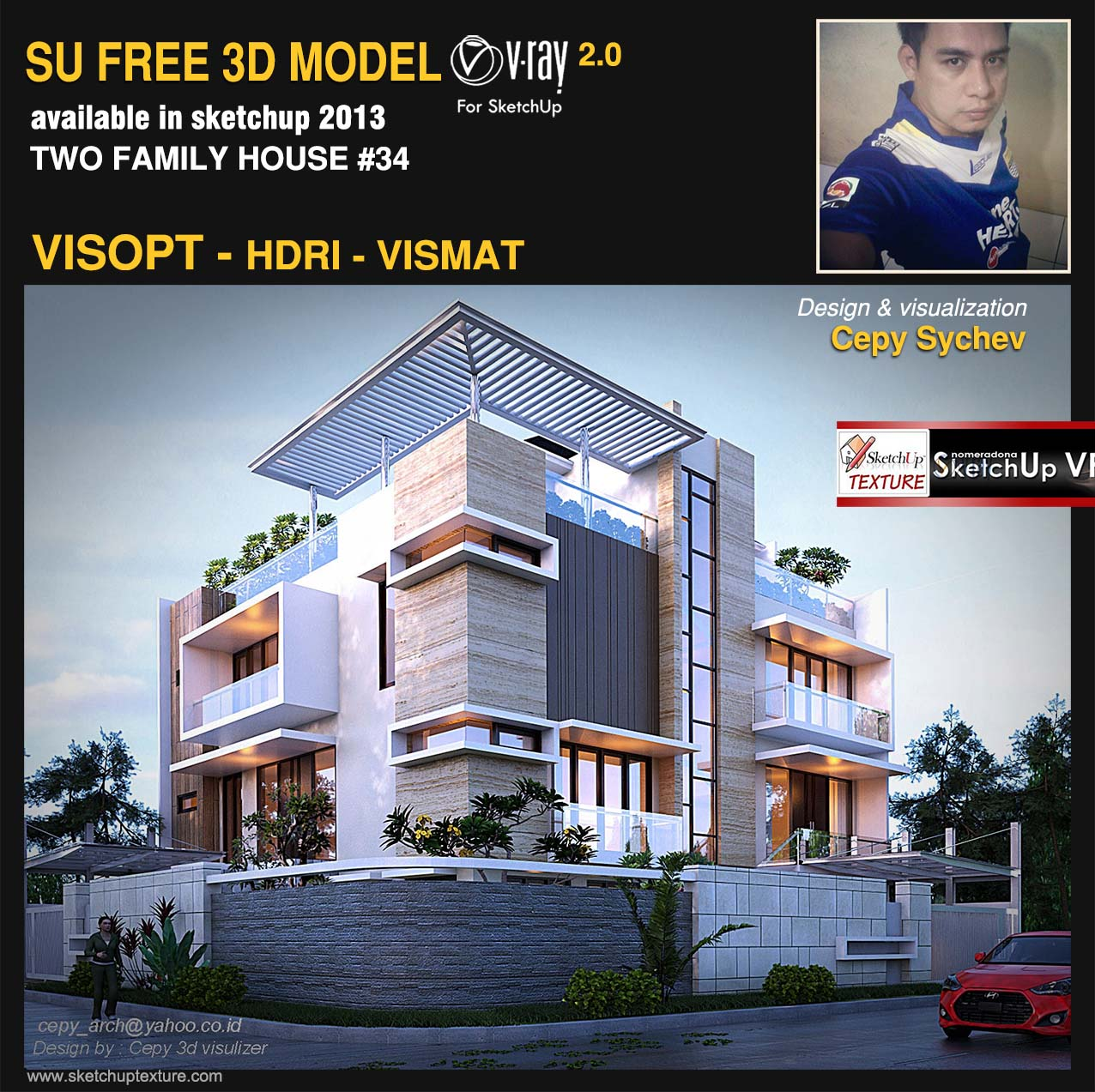 free sketchup model two family house #34 visopt and vray render