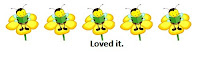 5 yellow flowers with bee reading on each.