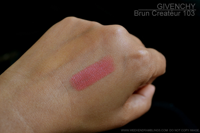 Givenchy Le Rouge Lipstick 103 Brun Creatéur Sephora Beauty Insider Points Perk Indian Makeup Beauty Blog Swatches Photos Review FOTD Looks