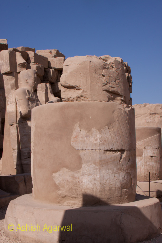 Cut section of a pillar inside the Karnak temple in Luxor